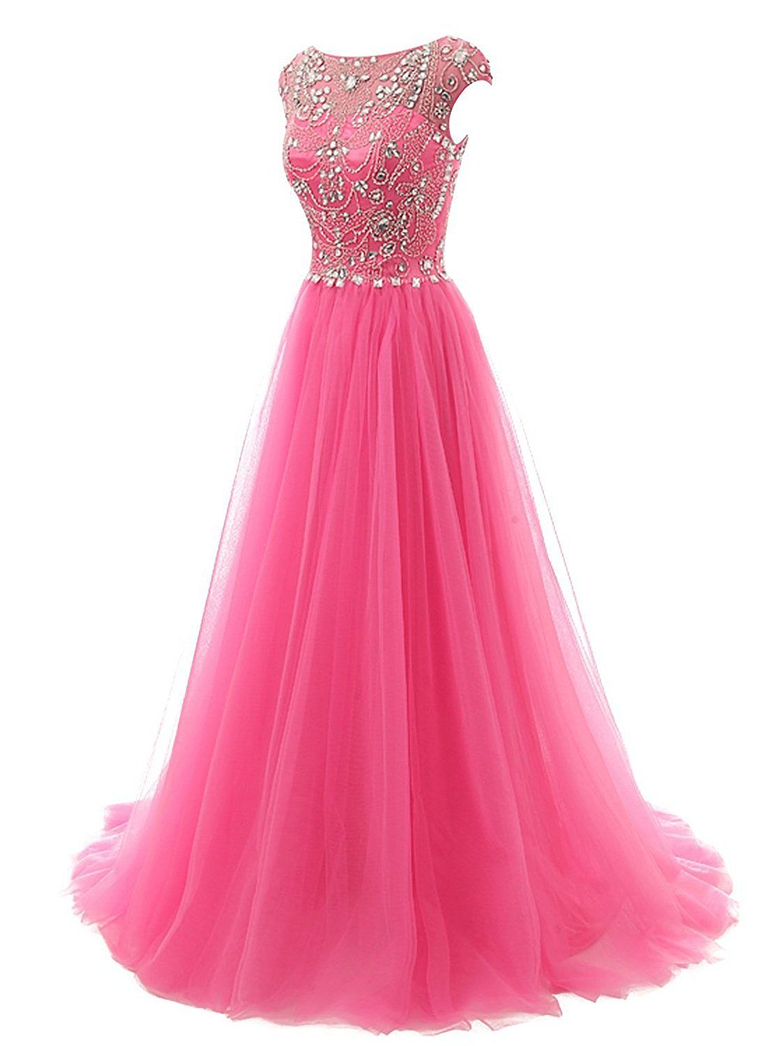 504add1b6a6 Amazon.com  FASHION DRESS Women s Beads Long Prom Dress Tulle Cap Sleeves  Evening Dress US2 Blush  Clothing