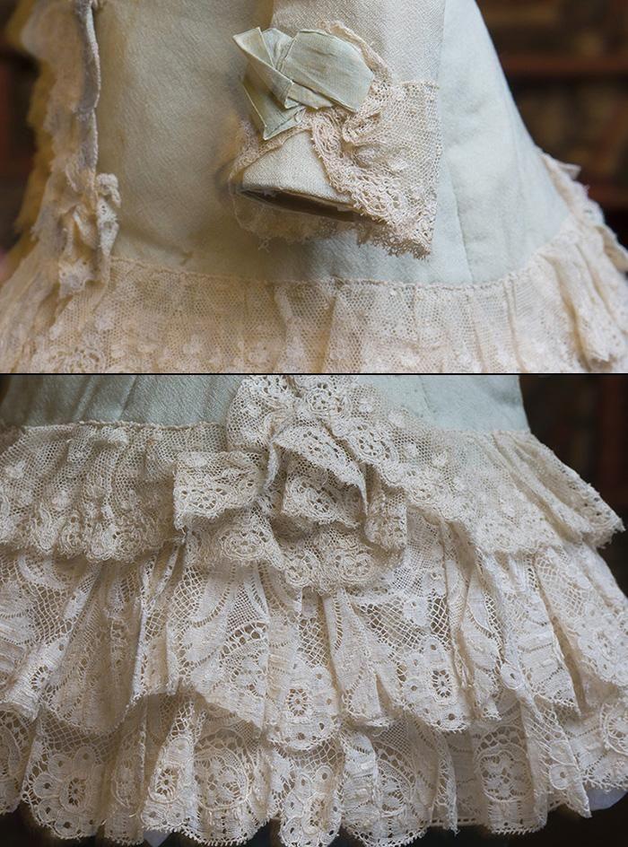"Antique Original Woolen dress for Jumeau Bru Steiner E.J. Eden bebe doll about 22-24"""