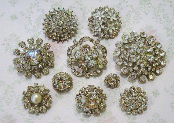 10 pcs Assorted Acrylic Metal Rhinestone Buttons with Shank on the back  Round Diamante Crystal for Hair Flower Wedding Pillow Napkin garment 67c55d522b64