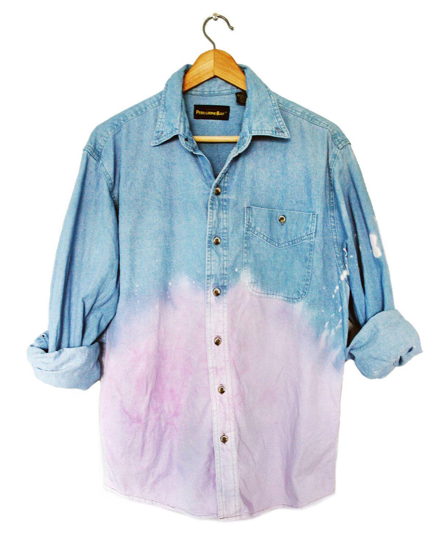 90s grunge unisex pastel purple dip dye ombre denim long for Mens dip dye shirt