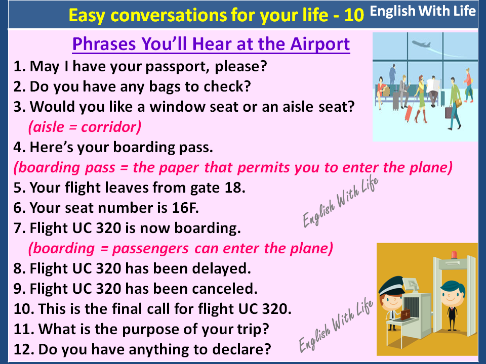 At the Airport conversation between 3 people English lesson