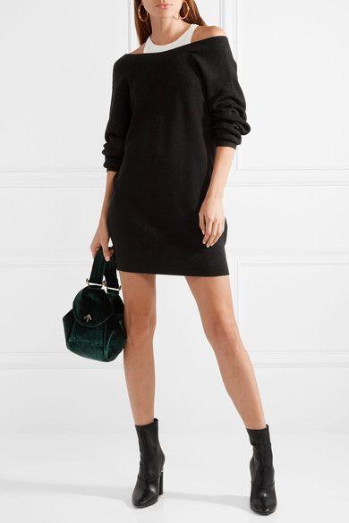 Off-the-shoulder Ribbed Merino Wool-blend Mini Dress - Black Alexander Wang 6UJhS