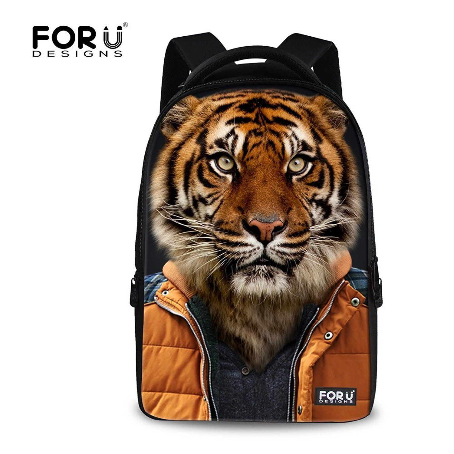 FOR U DESIGNS Wolf Tiger Panda Bear Print Animal Backpack for Teens * More infor at the link of image  : Day backpacks