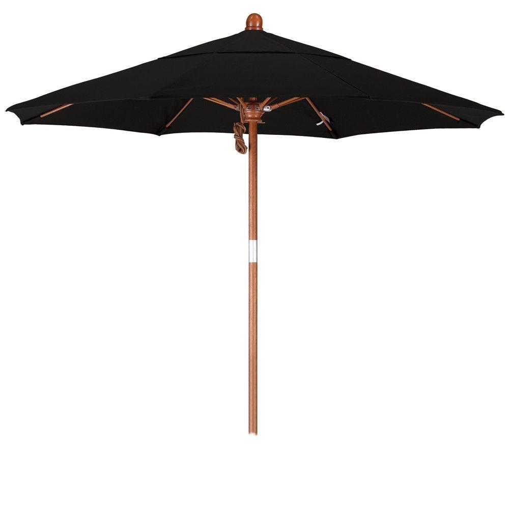 7 1/2 Foot Olefin Fabric Pulley Open Wood Patio Umbrella, 16 Colors