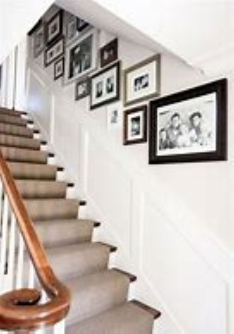 30+ Creative Ideas How To Arranging Pictures On A Stair ... on Creative Staircase Wall Decorating Ideas  id=11333