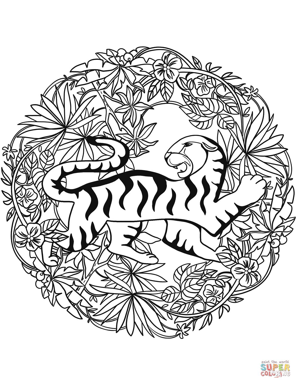 Tiger Mandala Coloring Page From Animal Mandalas Category