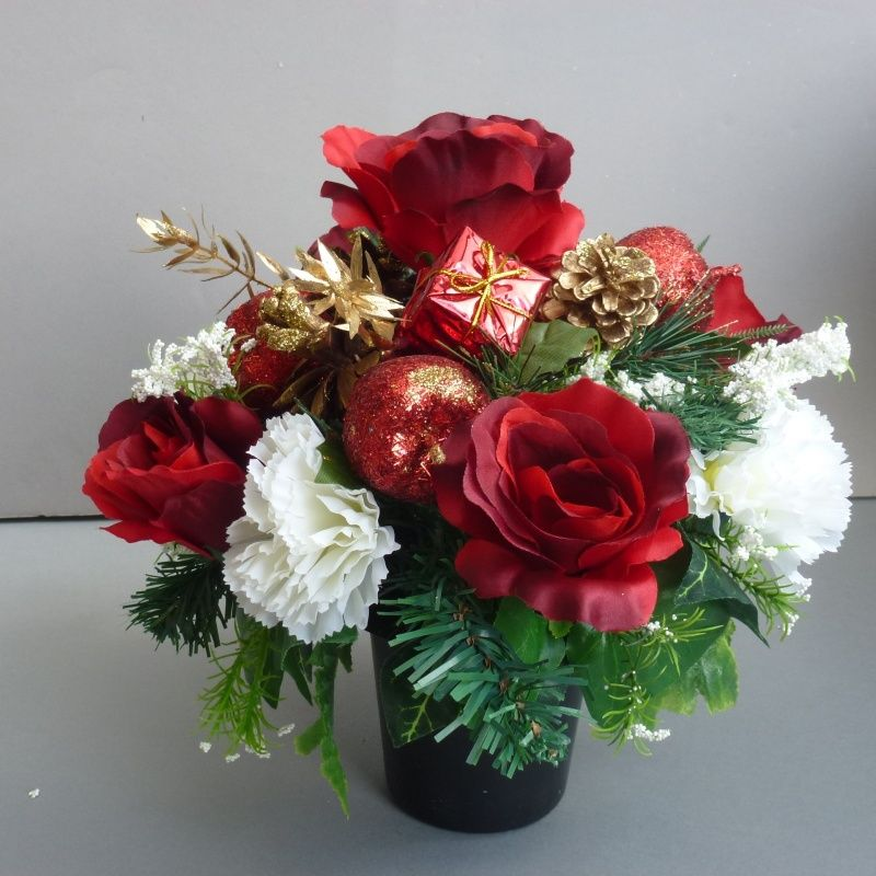 Christmas Grave Decorations Uk: Christmas Memorial Pot With Silkl White Carnations & Red