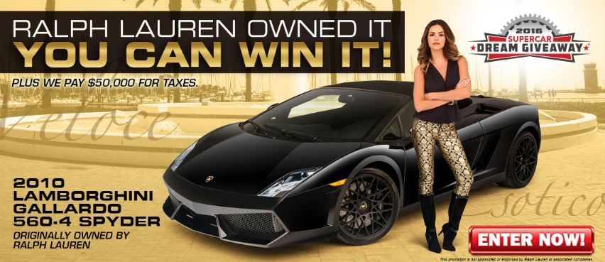 Enter To Win This 2010 Lamborghini Gallardo With An Extra 58 000 Of Options Added By The Original Owner Ralph Lauren Donate 3 Charity And