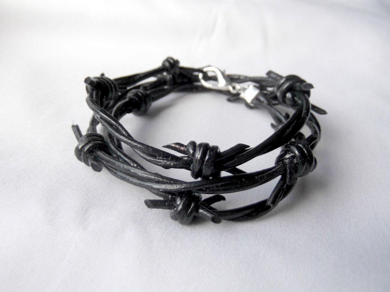 Barbed Wire Bracelet, Leather Bracelet, Wrap Bracelet, Mens Bracelet ...