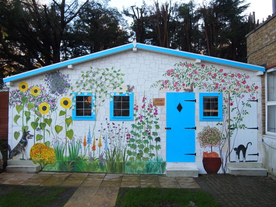 Shed Coverup Mural Cottage Outside Lovely Dementia