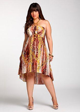 Ashley Stewart: Printed High Low Dress