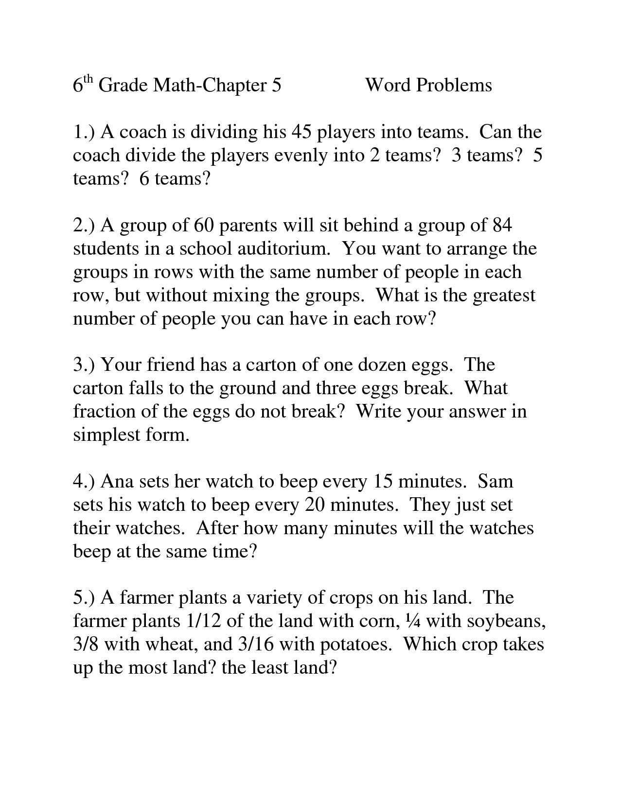 6 Worksheets Real Life Word Problems Part 5 2 In