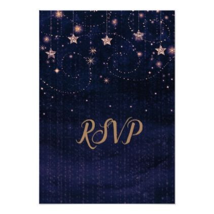 Starry Night Purple Gold Whimsical Stars Rsvp Card Purple Gold