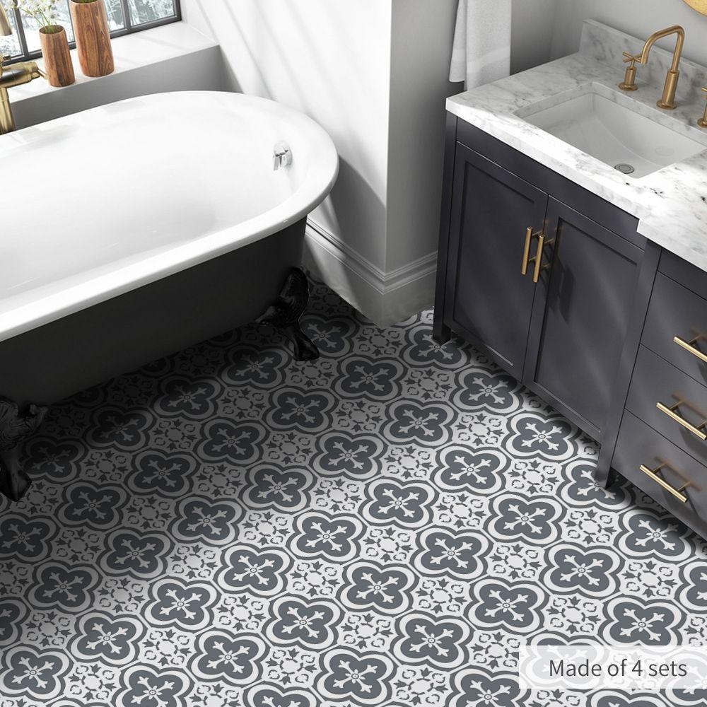 Waterproof Balck White Wall Tiles Stickers Waist Line Kitchen Wall Sticker Pvc Adhesive Bathroom Floor Wallpaper Bathroom Floor Wallpaper Black Bathroom Bathroom Flooring