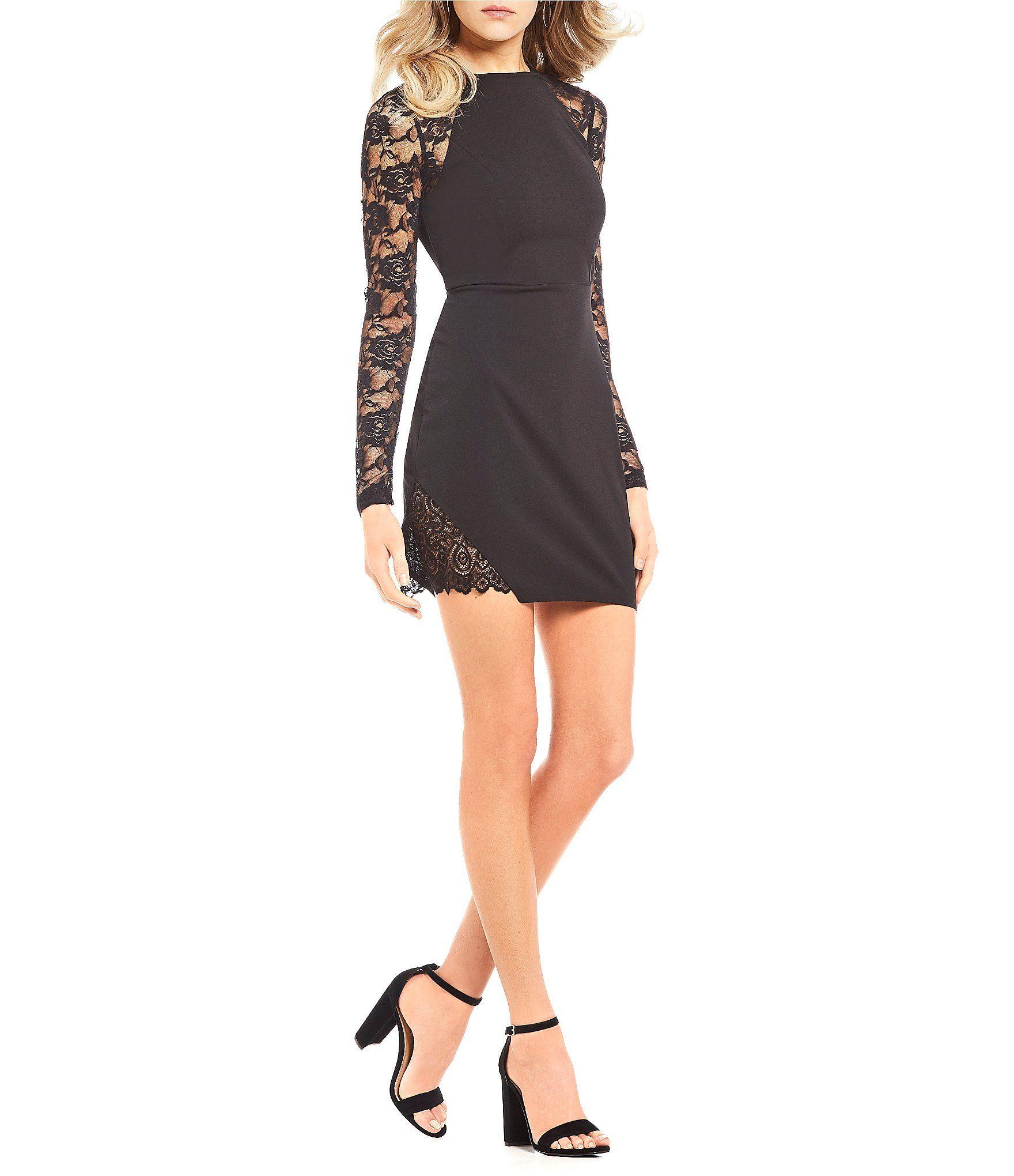 Honey and rosie lace long sleeve sheath dress dillards prom