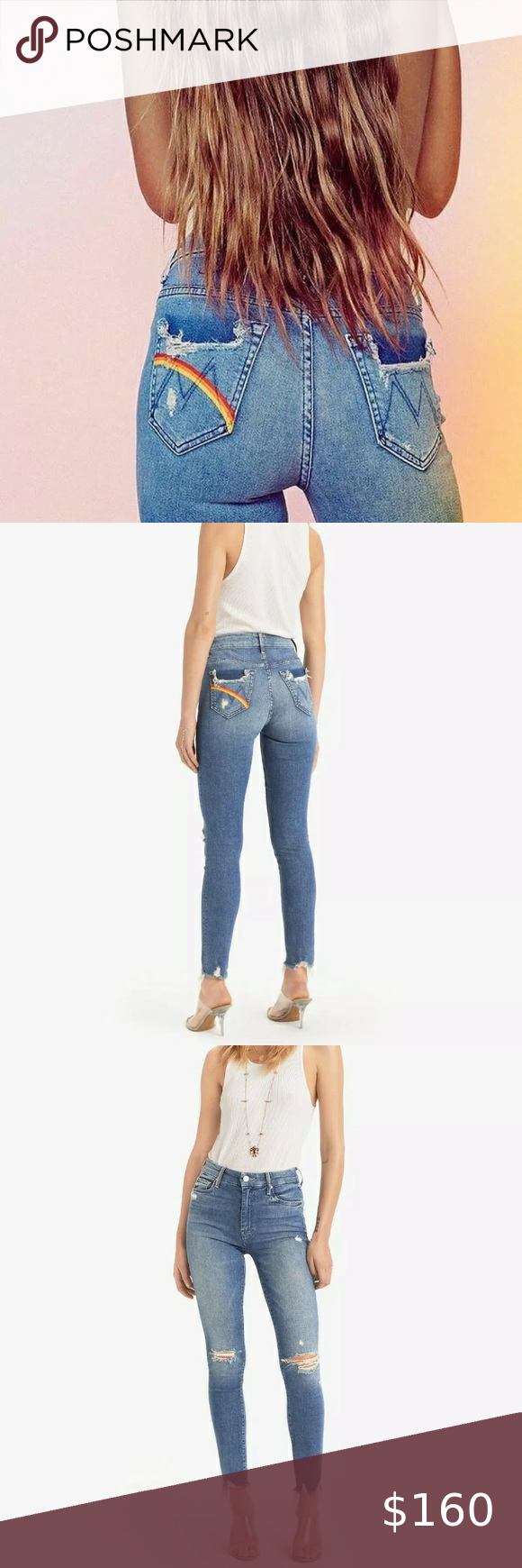 Mother Denim High Waisted Looker Ankle Chew Mother Denim High Waisted Denim High Waisted