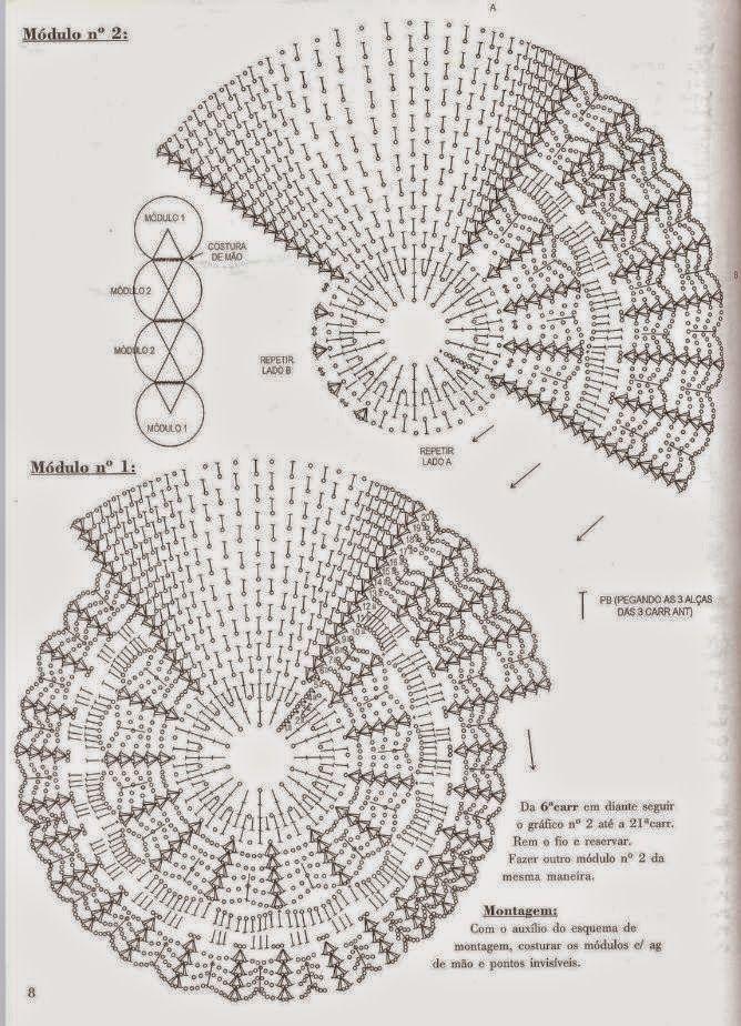 Todo crochet: Camino de mesa crochet con diseño de círculos y rombos ...