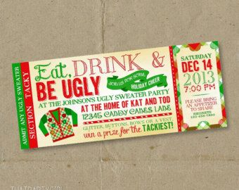 Christmas Party Ticket Template Free Best Custom Invitation