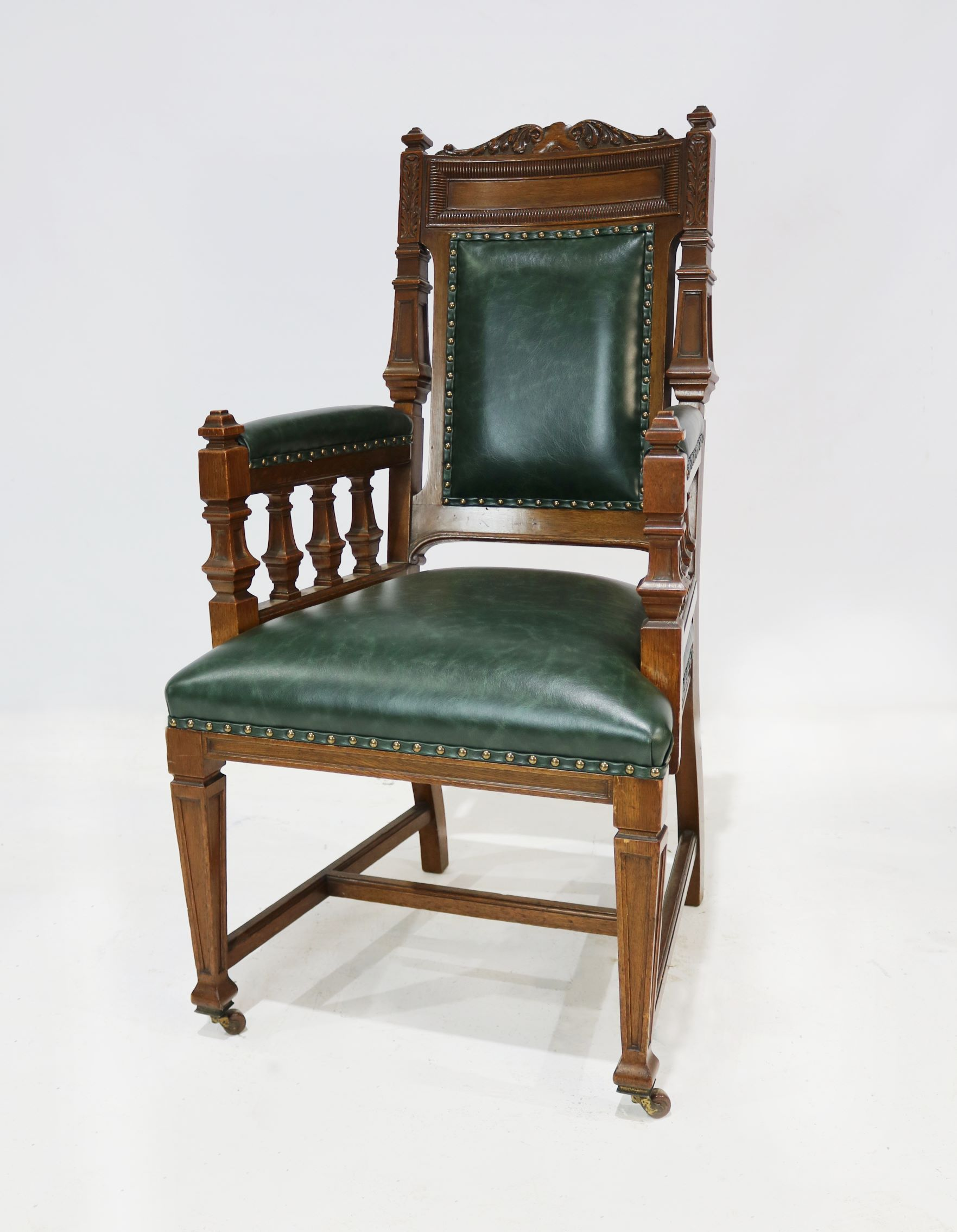 Carver chair reupholstered in green leather carver chair