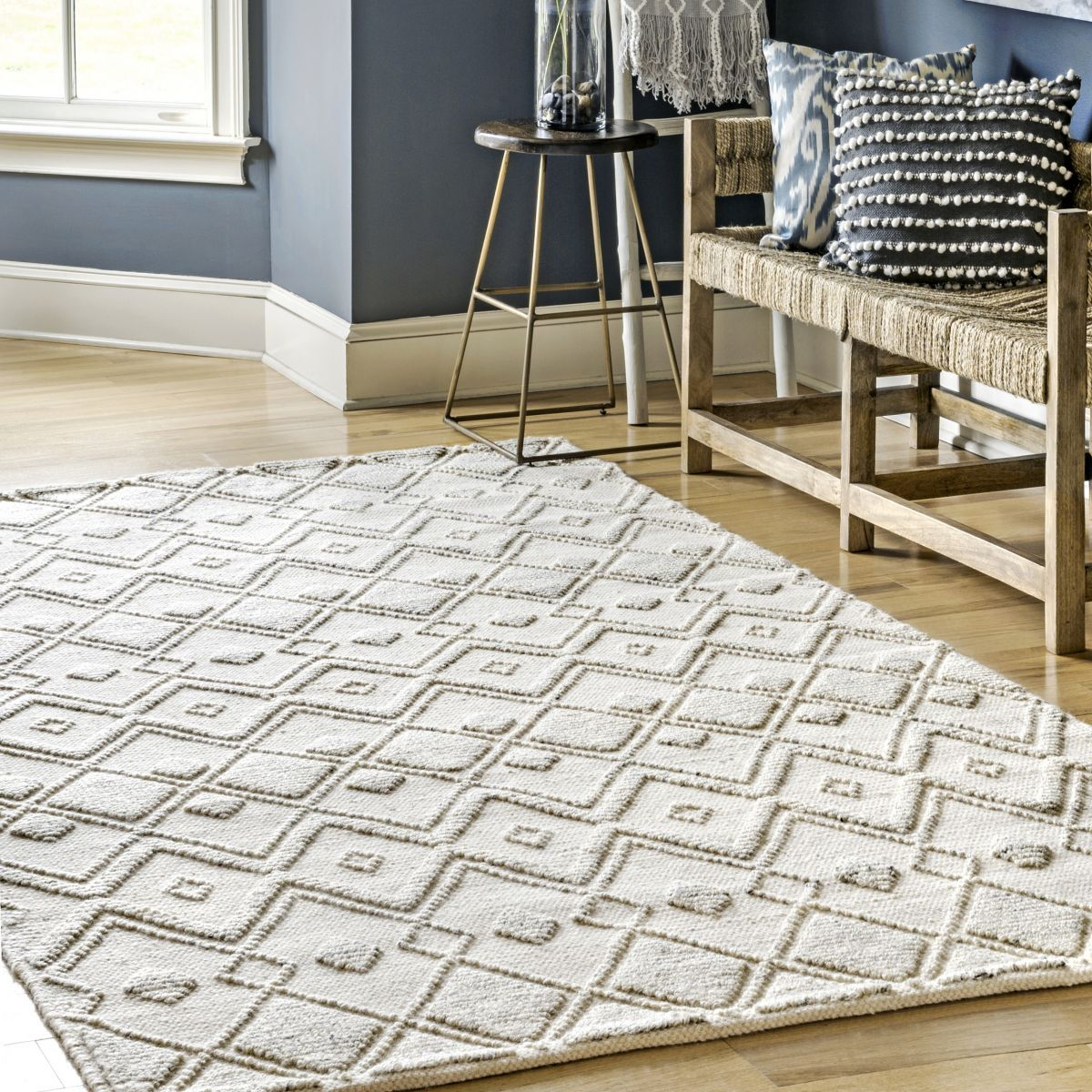 Kenda Dotted Diamonds Texture Ivory Rug Area Rugs Stunning Rugs Cool Rugs