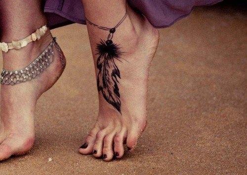tatouage cheville féminin plume sur http//tatouagefemme.eu/tatouage ,cheville