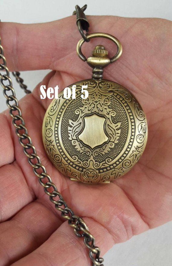 80e65c954 Gold Pocket Watch Wedding Set of 5 Personalized Groomsmen Gifts Engraved  Pocket Watches with Chains