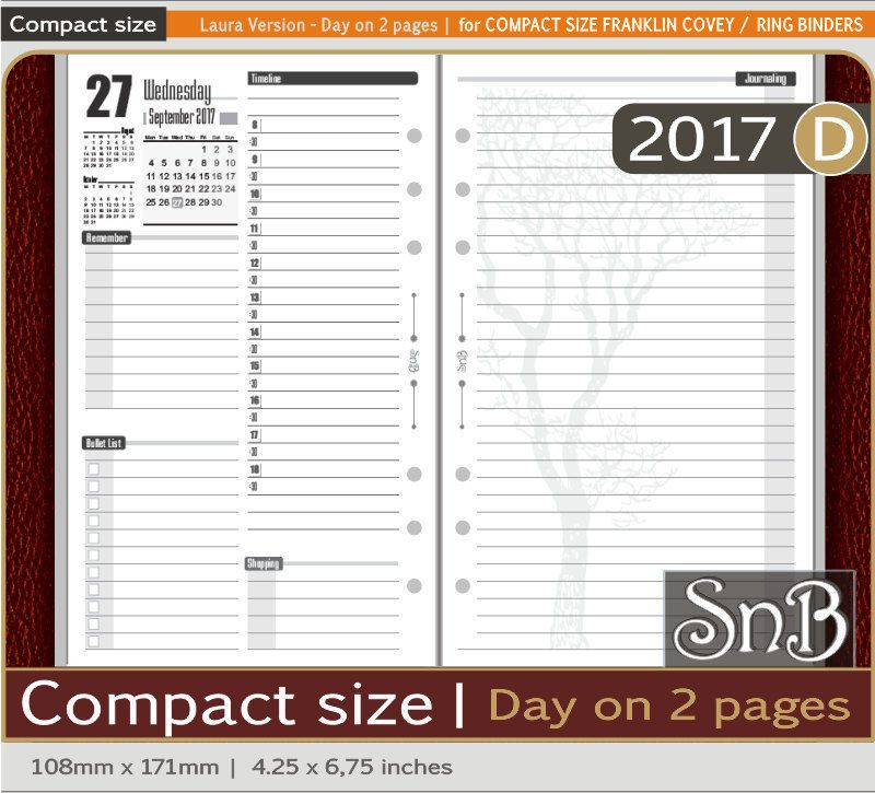 SnB Compact - First Edition - Day on 2 pages - 2017 - Printable