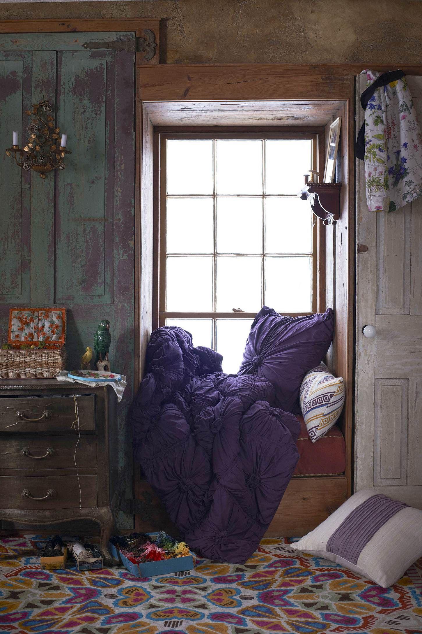 3 window bedroom ideas  oh that bedding  window bench  pinterest  rosettes