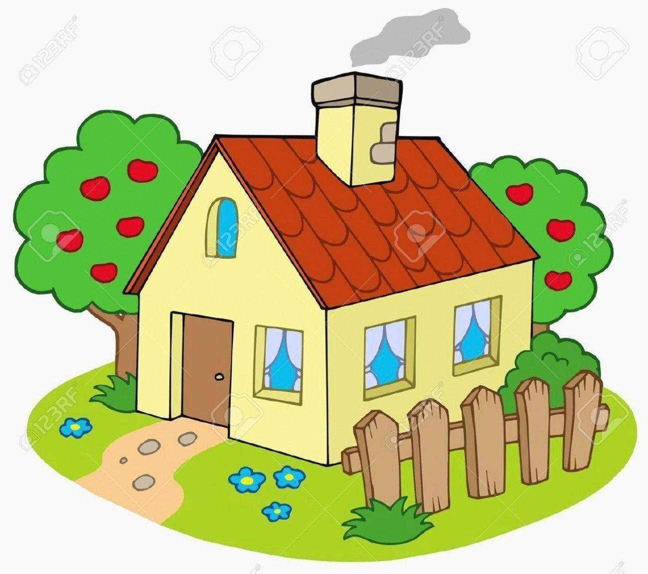 Haus Mit Garten Vektor Illustration Lizenzfreie Cliparts In 2020 Cartoon Haus Haus Und Garten Kinder Zeichnen