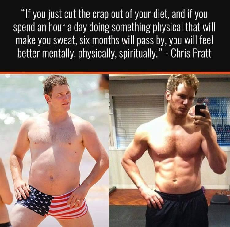 bdc44e5ca6 In all fairness, Chris Pratt was ripped before he was fat, and he had a  personal trainer. So while this is true, results are not typical.