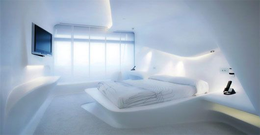 Futuristic Hotel Bedroom Interior Design From Zaha Hadid