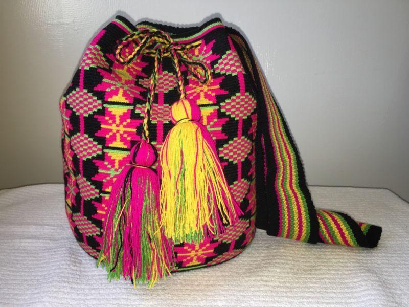 Authentic 100/% Wayuu Mochila bag Colombian Large Single Thread