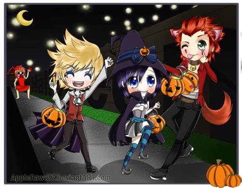 Halloween Roxas, Xion, \u0026 Axel