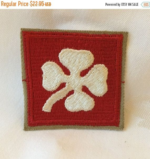 Vintage WW2 Wwii 4th Army Military Patch - White 4 Leaf
