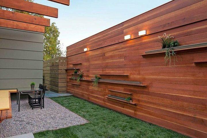 Vallas ideas que llenar n el patio de modernidad y buen for Muro de separacion terraza
