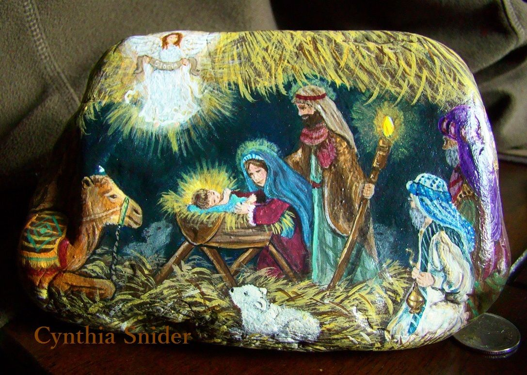 Nativity Rock Crafts Hand Painted Rocks Christmas Paintings