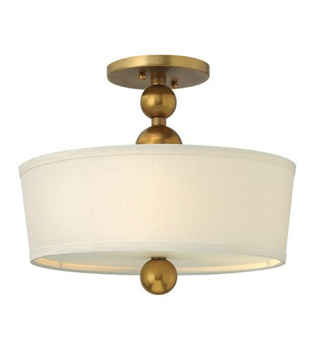 Hinkley 3441VS Zelda 3 Light 15 inch Vintage Brass Semi Flush Ceiling Light in Incandescent, Etched Glass #lightingnewyork #lny #lighting