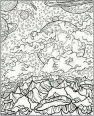 Galaxy Trippy Coloring Pages For Adults