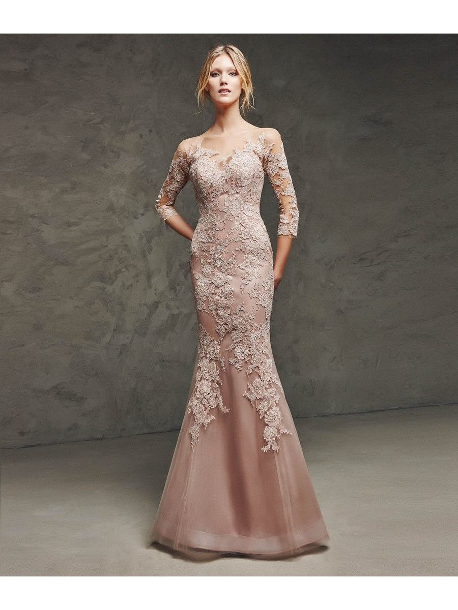 Mermaid 3/4 Length Sleeves Lace Illusion Neckline Prom Evening ...