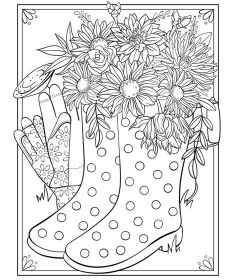 Spring Boots Free Coloring Page | Summer coloring pages ...