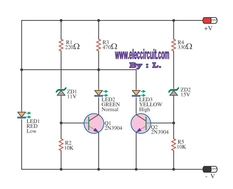 4 Led Voltage Indicator Circuits Electronic Engineering Circuit