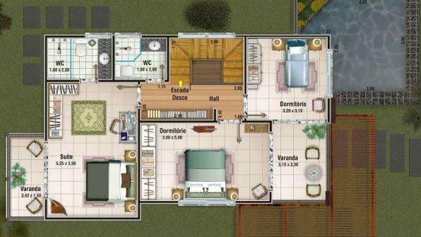 Plano de casa moderna de 2 pisos y 150 m2 casas planos for Casa moderna 50 metros cuadrados