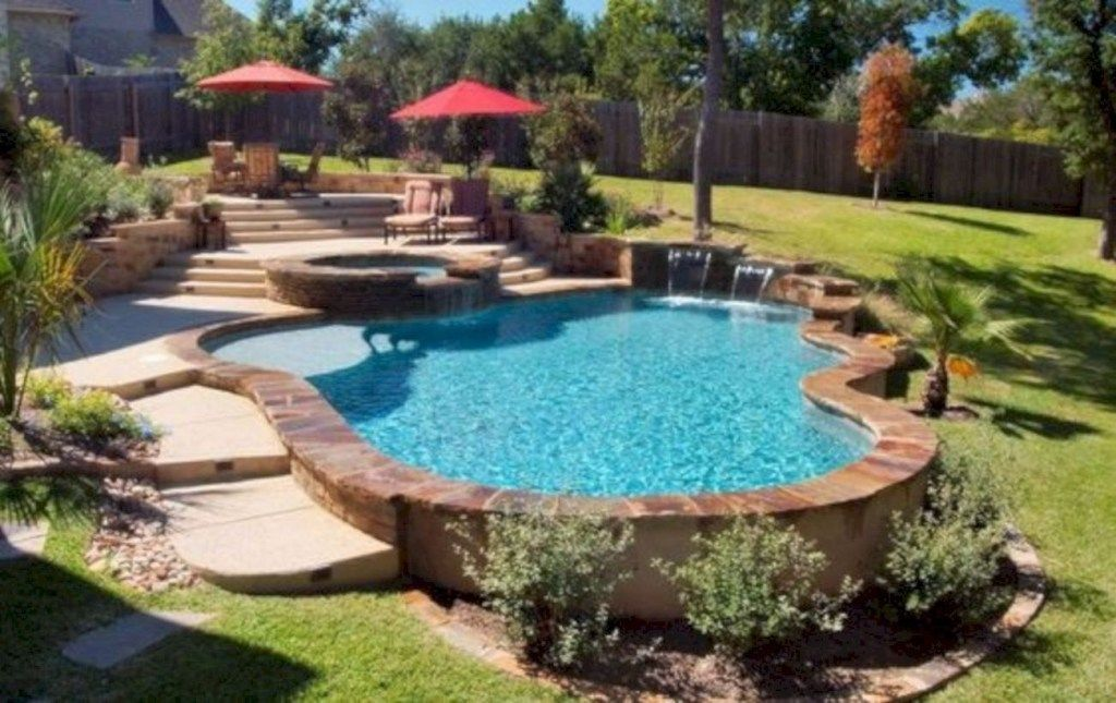 Pool And Spa Design For Outdoor Decor 10 Homiku Com Backyard Pool Landscaping Landscaping Around Pool Pool Landscaping