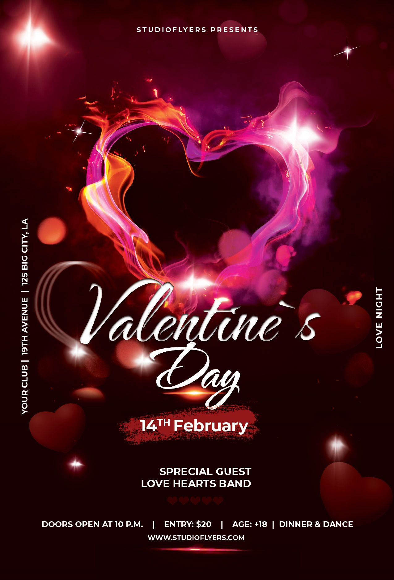 Valentines Day Free Psd Flyer Template Studioflyers Com Free Psd Flyer Templates Psd Flyer Templates Free Psd Flyer