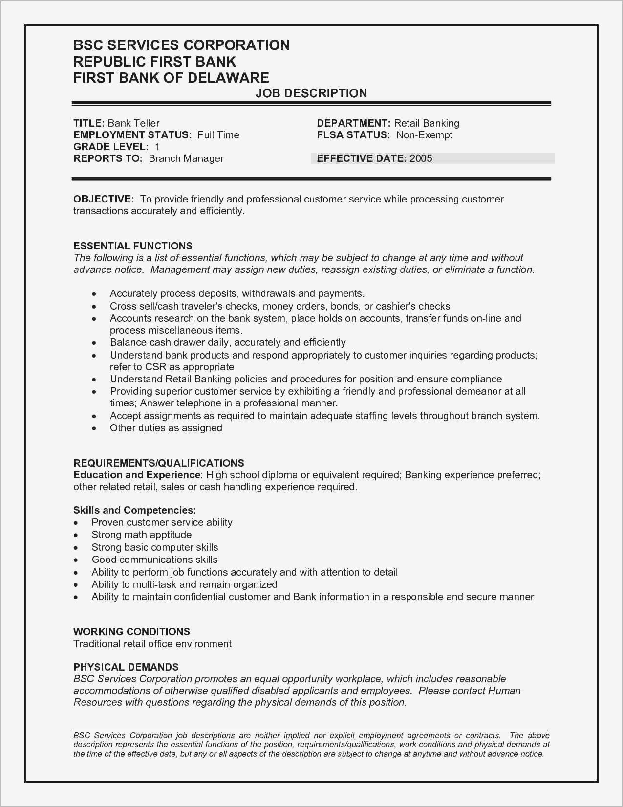 73 Unique Stock Of Resume Examples For Personal Bankers