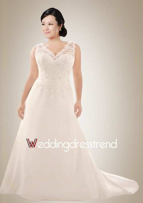 Stunning Plus Size V-neck Sweep Train Wedding Dress