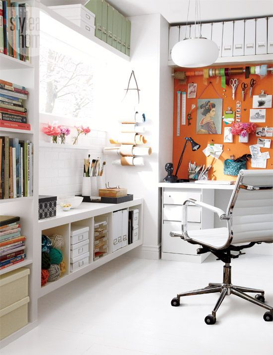 Whimsical colours, decorative accents and simple storage creates an organized and engaging home office.