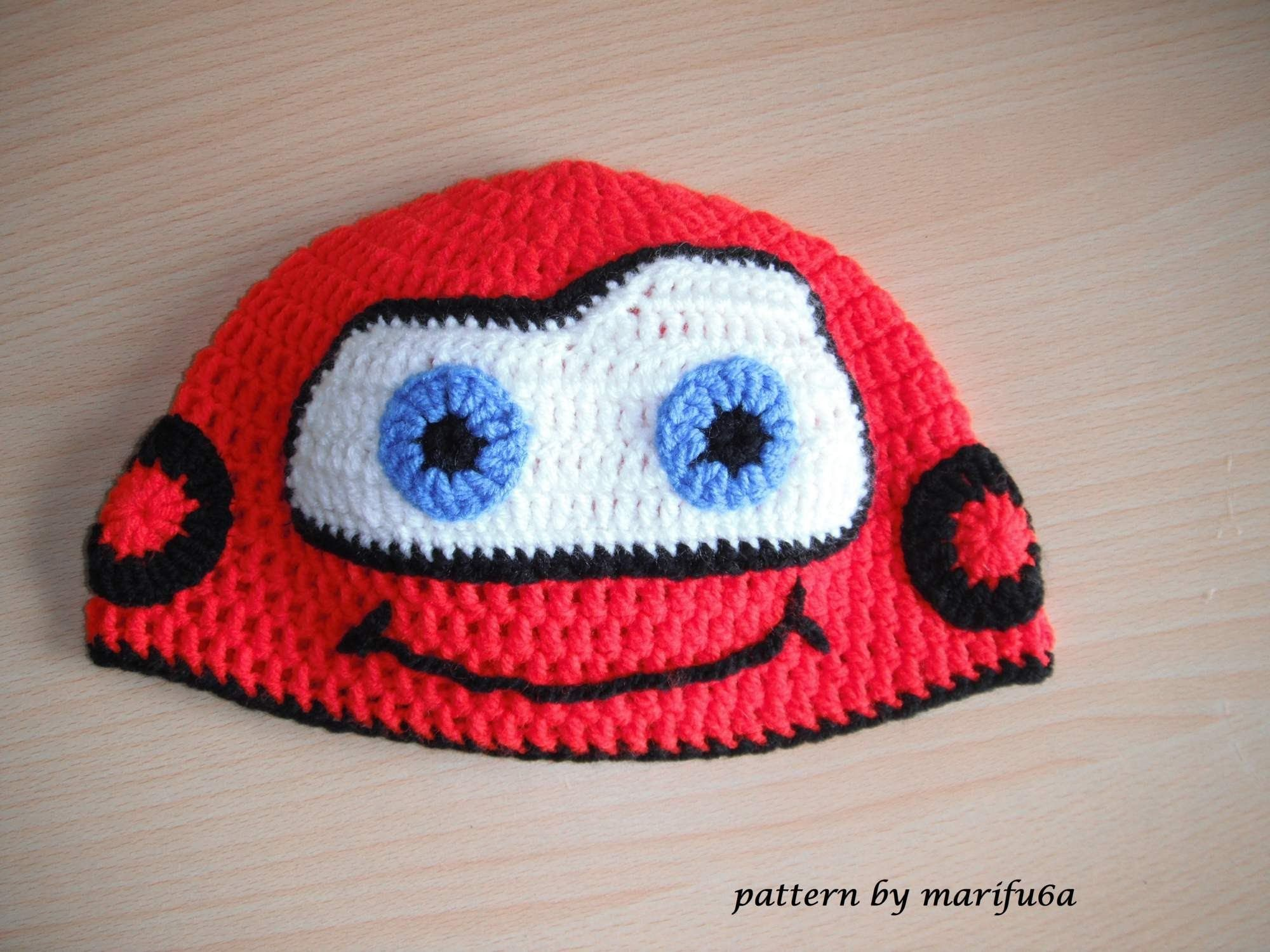 how to crochet hat McQueen car free pattern tutorial all sizes ...