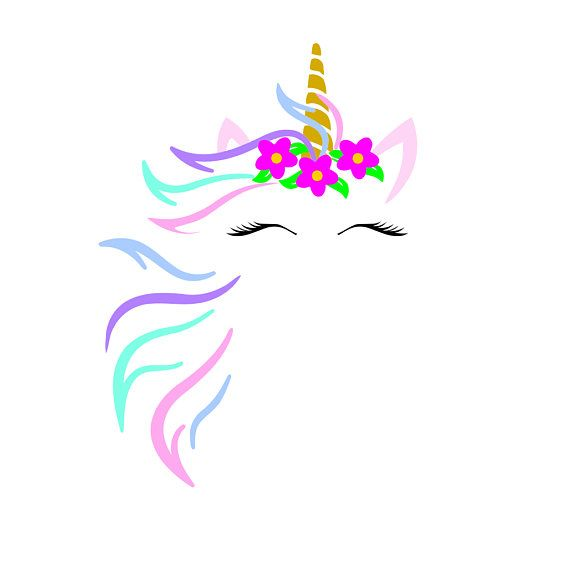unicorn face w flowers svg design cutting file includes png for