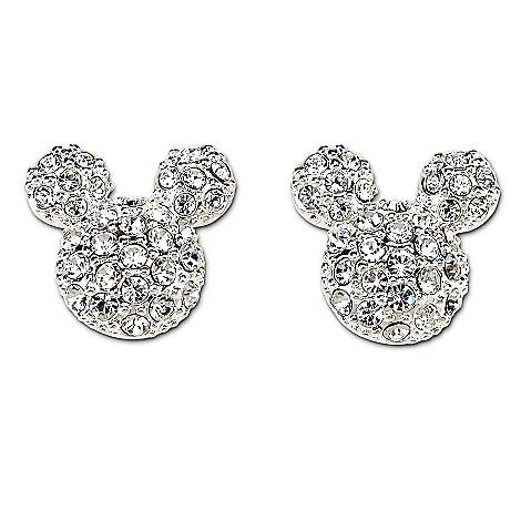 Crystal Mickey Mouse Stud Earrings Disney Couture